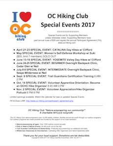 OC Hiking Club Special Flyer 2017